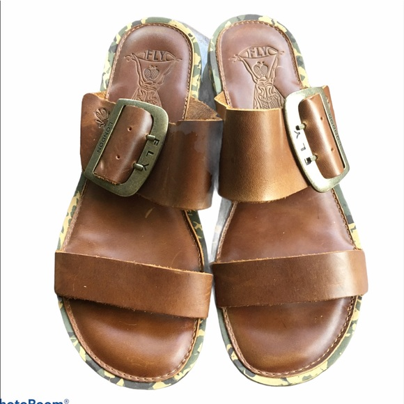 FLY London Cape Bridle Camel Leather Sandals 39